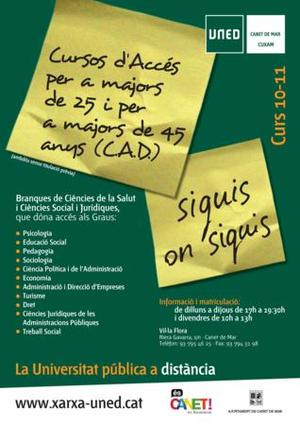 Cartell Cursos UNED 2010-2011
