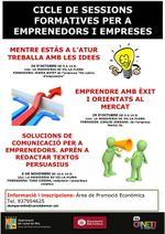 Cartell sessions formatives emprenedors - octubre novembre 2013